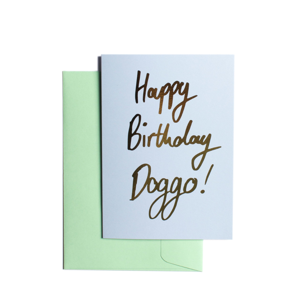 Pooch Design Greeting Card | Happy Birthday Doggo Blue | Smack Bang