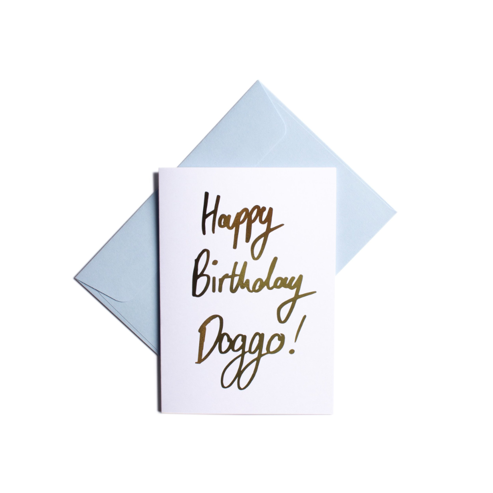 Pooch Design Greeting Card | Happy Birthday Doggo White | Smack Bang