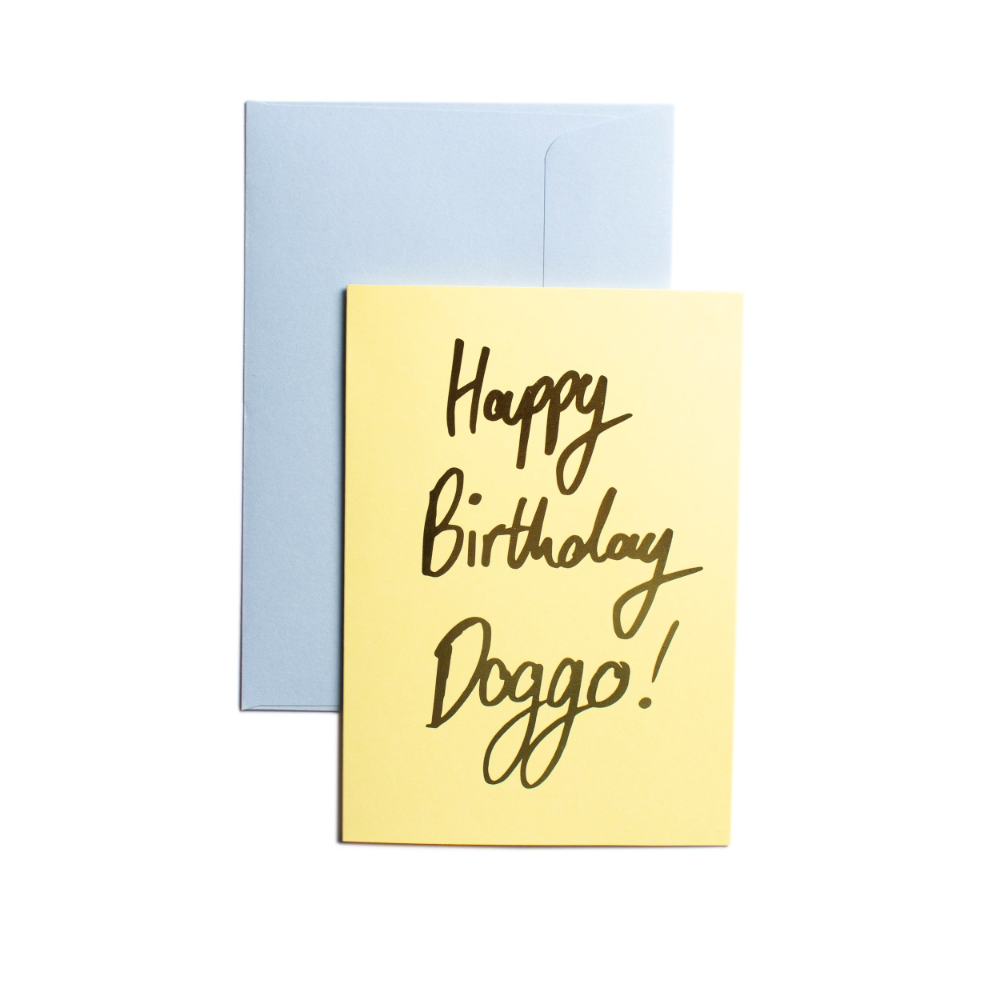 Pooch Design Greeting Card | Happy Birthday Doggo Yellow | Smack Bang