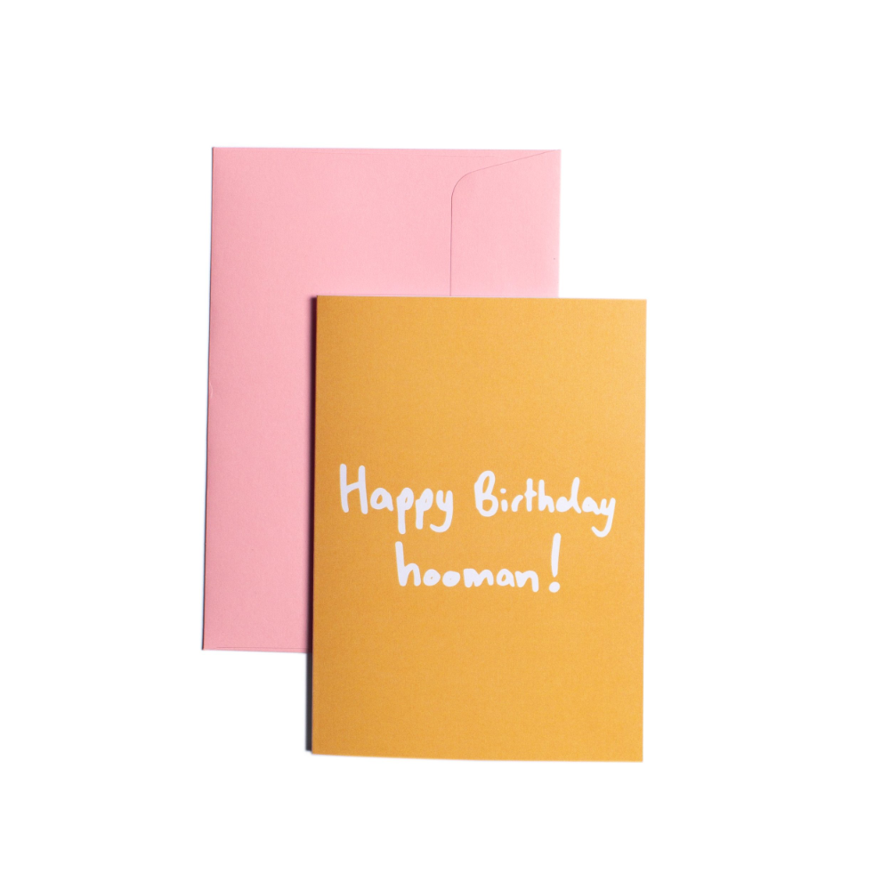 Pooch Design Greeting Card | Happy Birthday Hooman Orange | Smack Bang