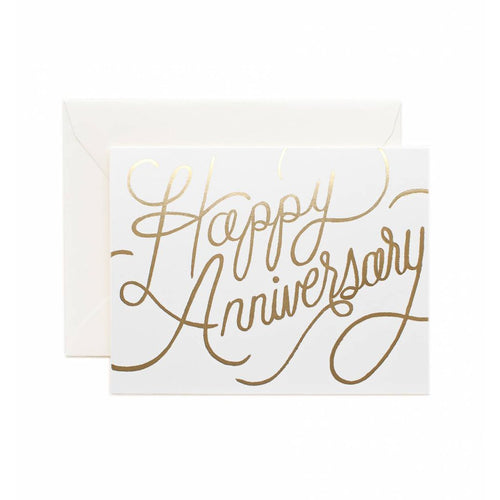 Rifle Paper Co White and Gold Happy Anniversary Greeting Card SMACK BANG