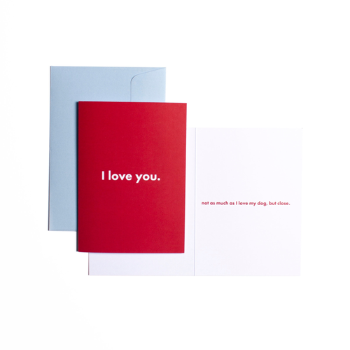 Pooch Design Greeting Card | I Love You (Not As Much As I Love My Dog, But Close) | Smack Bang