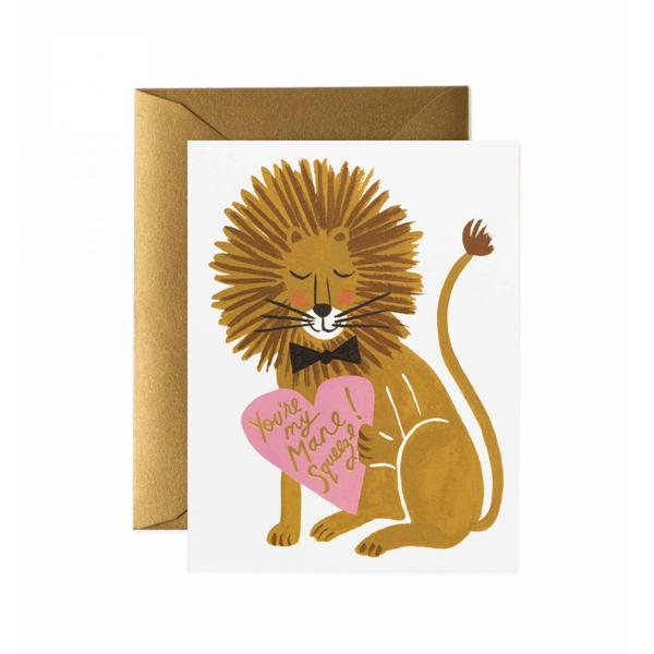 Rifle Paper Co Greeting Card You're My Mane Squeeze Love Valentine's Day Lion SMACK BANG