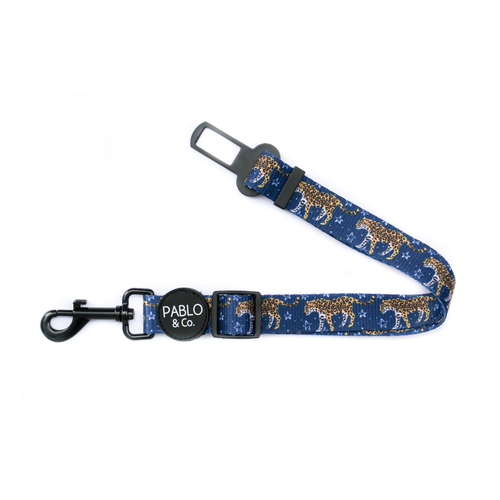 Pablo & Co Midnight Cheetah Adjustable Car Restraint/Dog Seat Belt