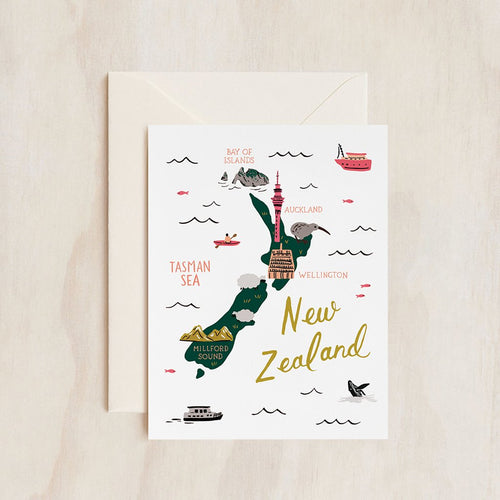 Rifle Paper Co Greeting Card Map of New Zealand | Smack Bang