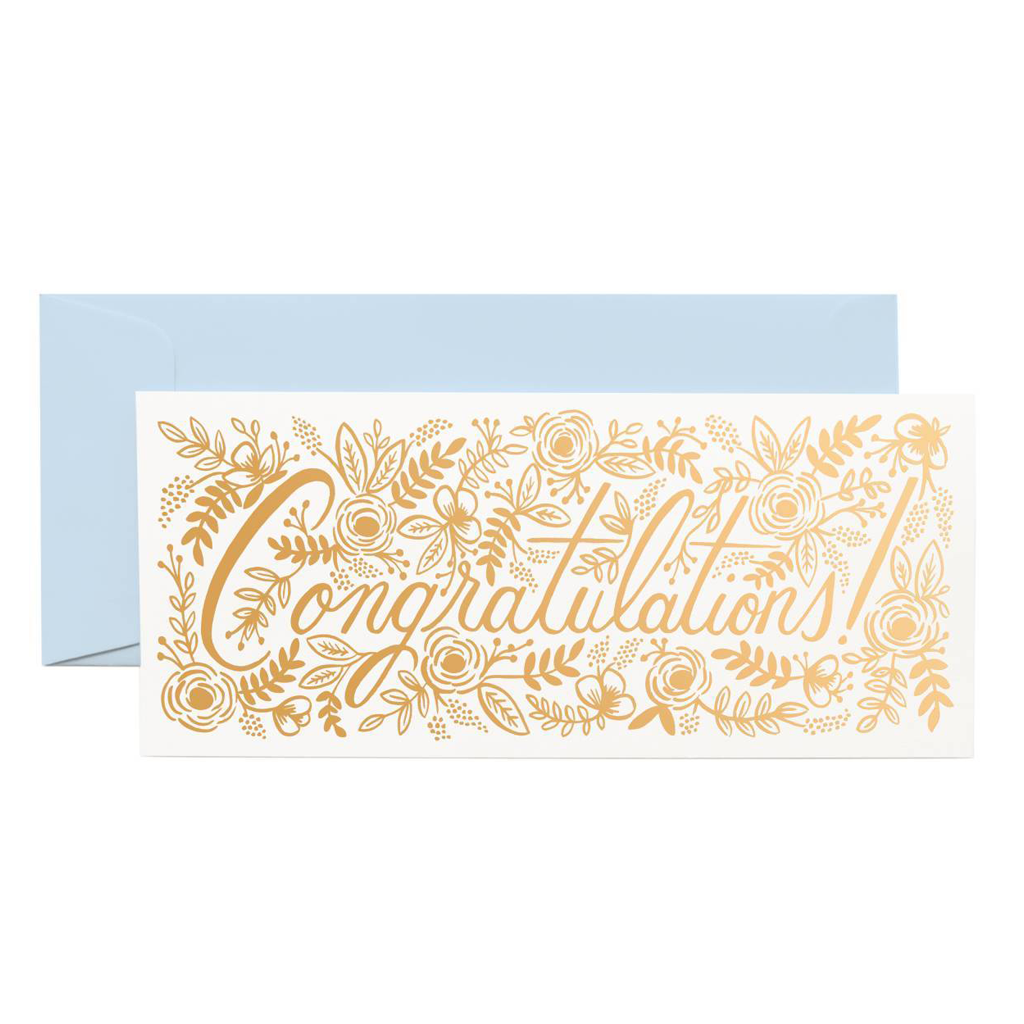 Rifle Paper Co Long Greeting Card Rose Gold Congratulations | Smack Bang