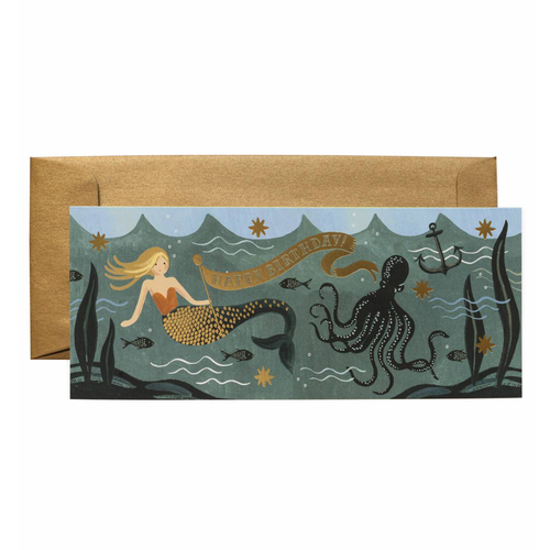 Rifle Paper Co Long Greeting Card Vintage Mermaid Under The Sea Happy Birthday | Smack Bang