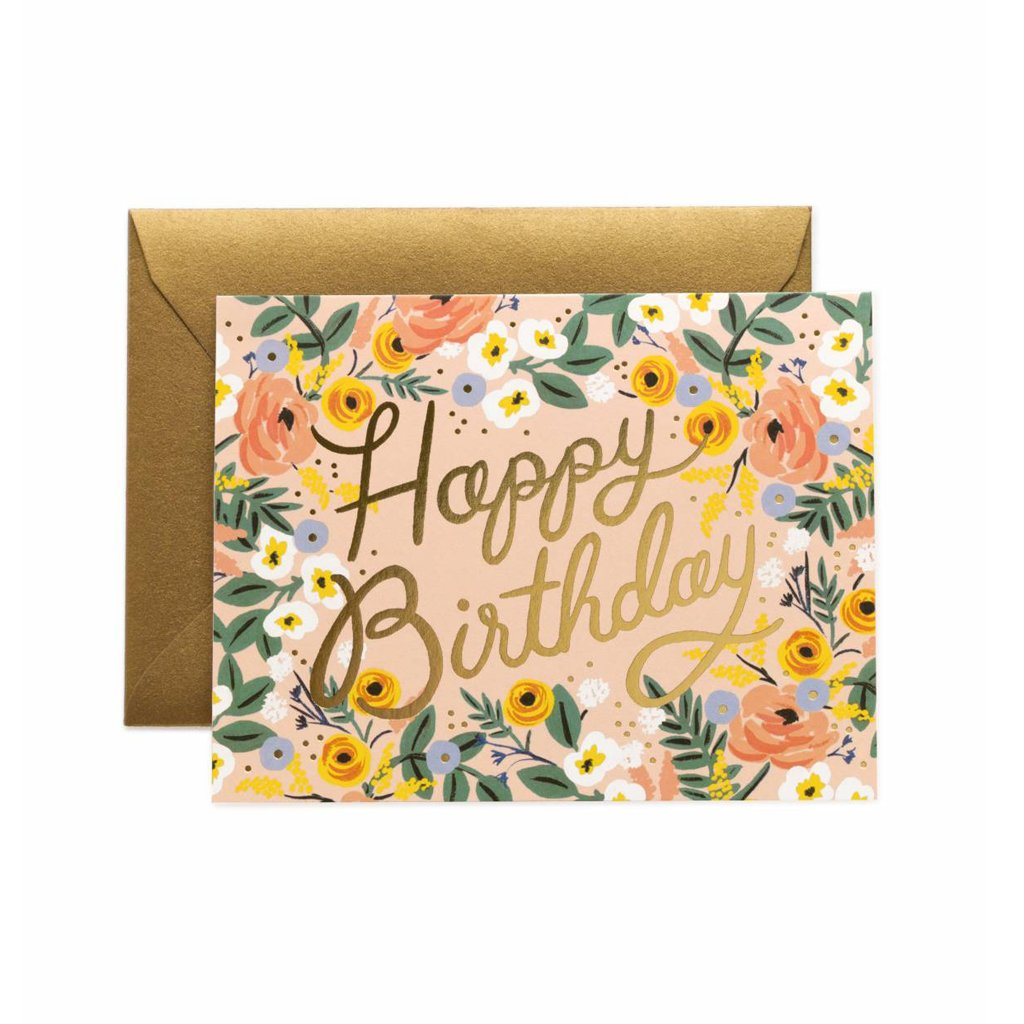 Rifle Paper Co Rosé Happy Birthday Greeting Card Pink Floral with Gold Foil SMACK BANG