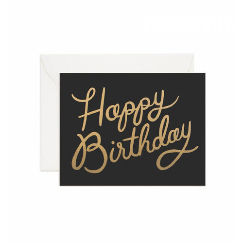 Rifle Paper Co Shimmering Happy Birthday Greeting Card Black and Gold | Smack Bang