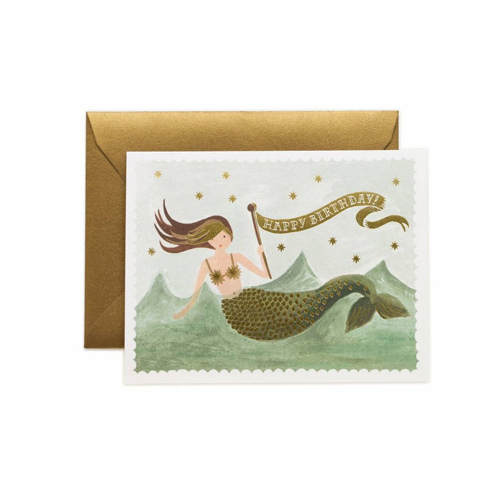 Rifle Paper Co Vintage Mermaid Happy Birthday Greeting Card