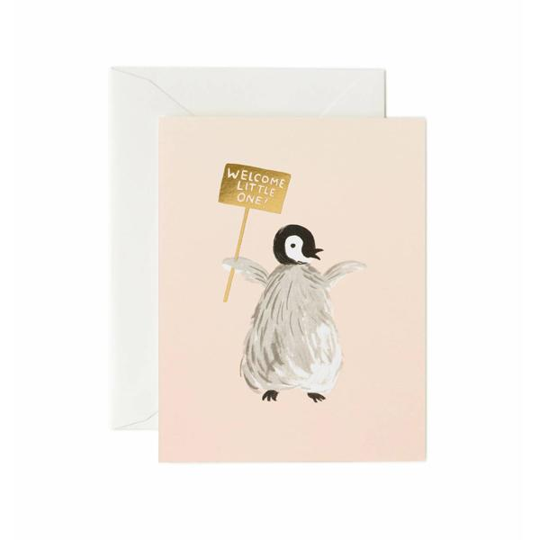 Rifle Paper Co Greeting Card Welcome Baby Penguin SMACK BANG