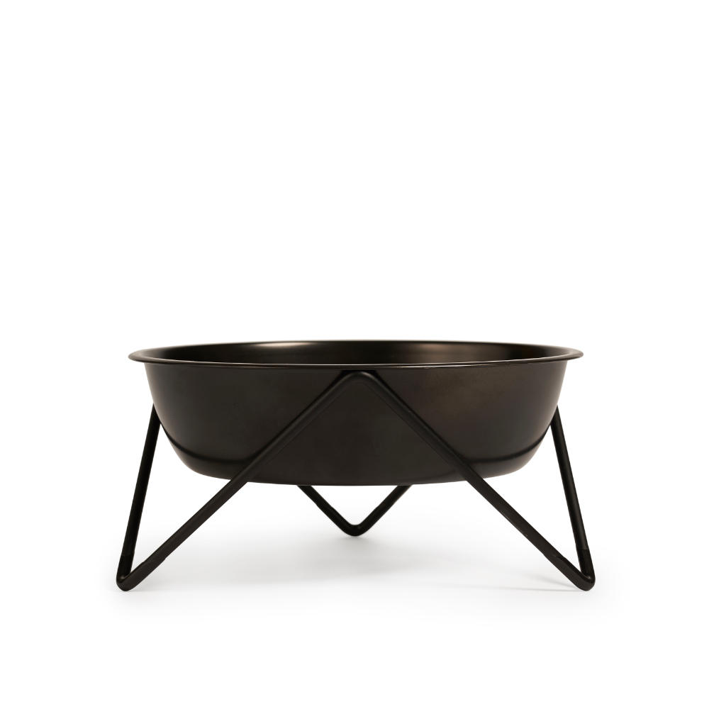 Bendo Luxe Woof Raised Dog Bowl Black on Black | Smack Bang
