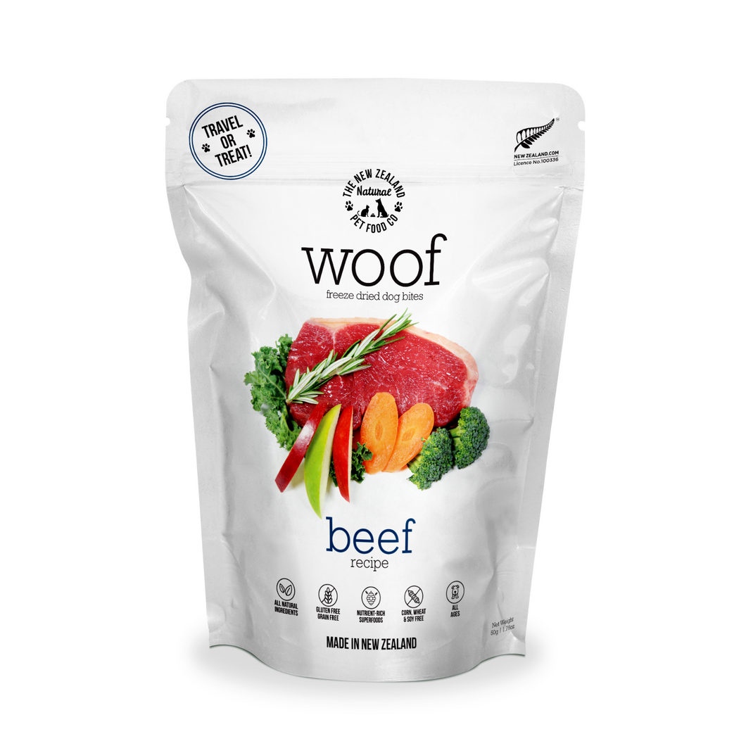 The New Zealand Natural Pet Food Co Woof Beef Dog Bites | Smack Bang
