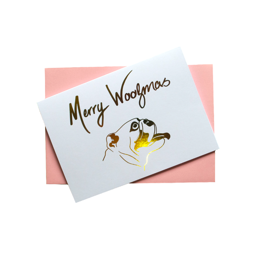 Pooch Design Christmas Card | Merry Woofmas Gold Foil | Smack Bang