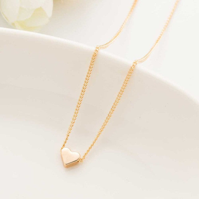Completely new New Hot Trendy Tiny Heart Short Pendant Necklace Women Gold Plated  QI54