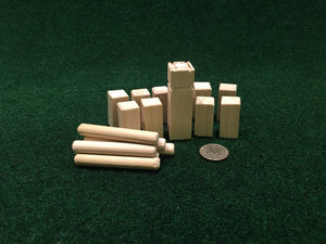 image of a mini kubb set