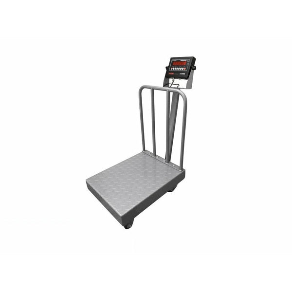 OPTIMA OP-915BWD  NTEP / Legal for trade Diamond Plate Bench Scale with Wheels and Backrail