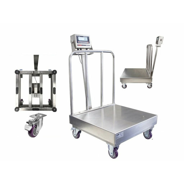 OPTIMA OP-915SSBW NTEP Stainless Steel Washdown Bench Scale with Wheels and Backrail