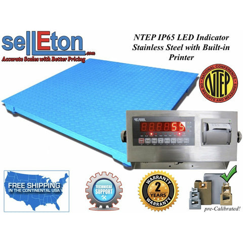 "NEW NTEP (Legal) Industrial 40"" x 40""  Floor scale 5000 x 1 lb w. Printer - SellEton Scales"