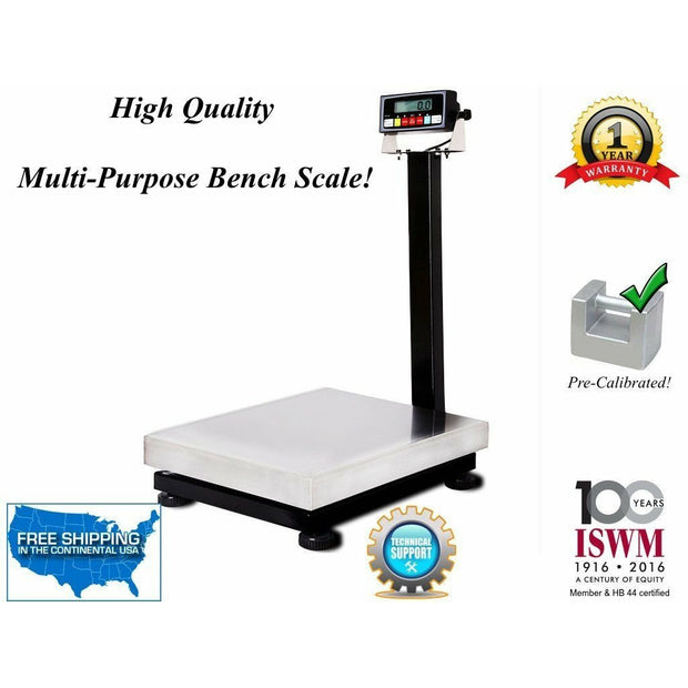 "PS-B20k-M 16"" x 20"" Smart Ready Bench Scale with RS-232 Port / 800 lbs x .05 lb"
