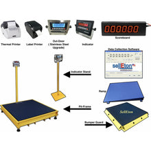 "Load image into Gallery viewer, OPTIMA OP-916-5x5-10K NTEP Floor Scale 60"" x 60"" / 10,000 lbs x 2 lb with 2 Protection Bumper Guards"