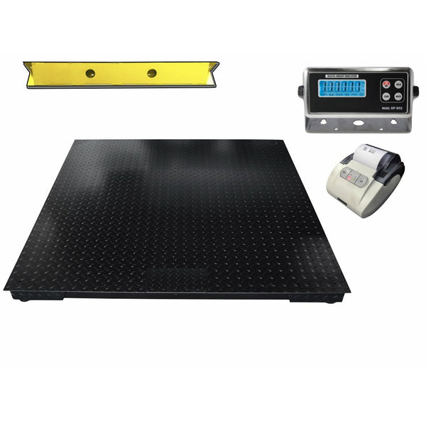 "OPTIMA 60"" x 60"" (5' x 5') Floor Scale with 2 Bumper Guards & Printer 5000 lbs x 1 lb"
