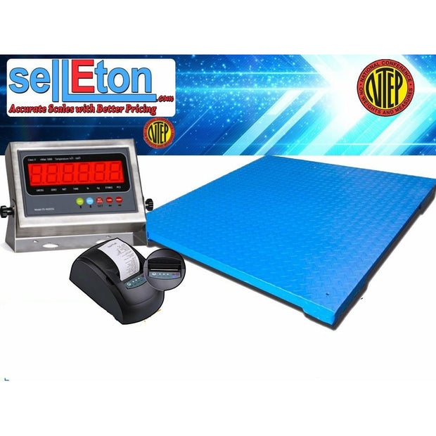 "SellEton NEW NTEP 4' x 4' | 48"" x 48"" Industrial Floor scale with printer / 1000 x .2 lb"