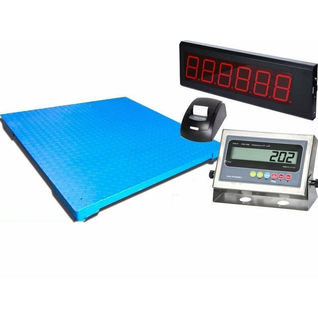 "SellEton 40"" x 40"" Industrial Floor Scale with Printer & Scoreboard l 1000 lbs x .2 lb"