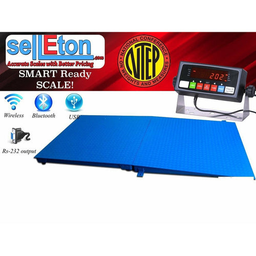 SellEton NTEP 5' x 4' (60'' x 48'') Floor Scale with Ramp 2,500 lbs x 0.5 lb/ Pallet Size