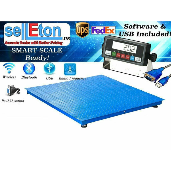 "SellEton New 5000lb/1lb 4'x4' (48"" x 48"") Floor Scale /Pallet Scale with Software & USB!"