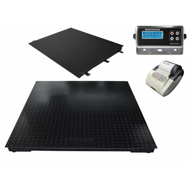 "SellEton 48"" x 60"" (4' x 5') Heavy Duty Floor Scale with Ramp & Printer 10,000 lbs x 1 lb"