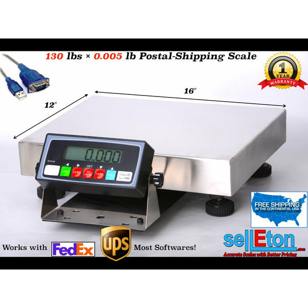 Multi-Purpose Shipping & Postal Scale l 130 lbs x .005 lb l FedEx/ UPS Software - SellEton Scales