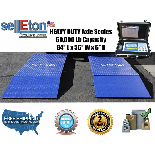 SellEton SL-60KX Heavy Duty 7' Truck Axle Scale with 60,000 lbs capacity