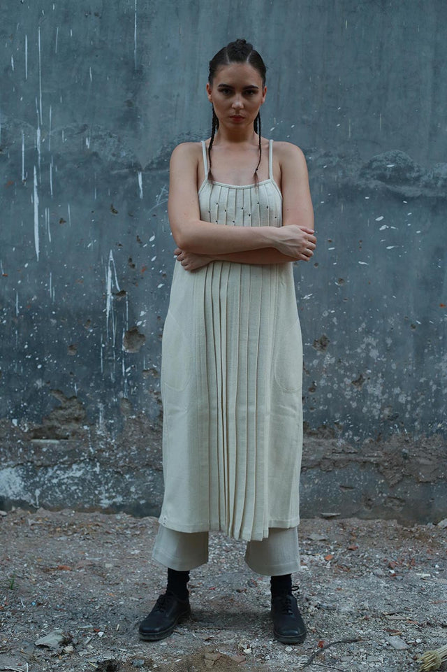 Recycled Wool Pleated Slip Dress