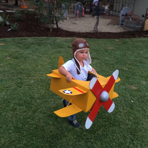 cardboard airplane costume boy pilot