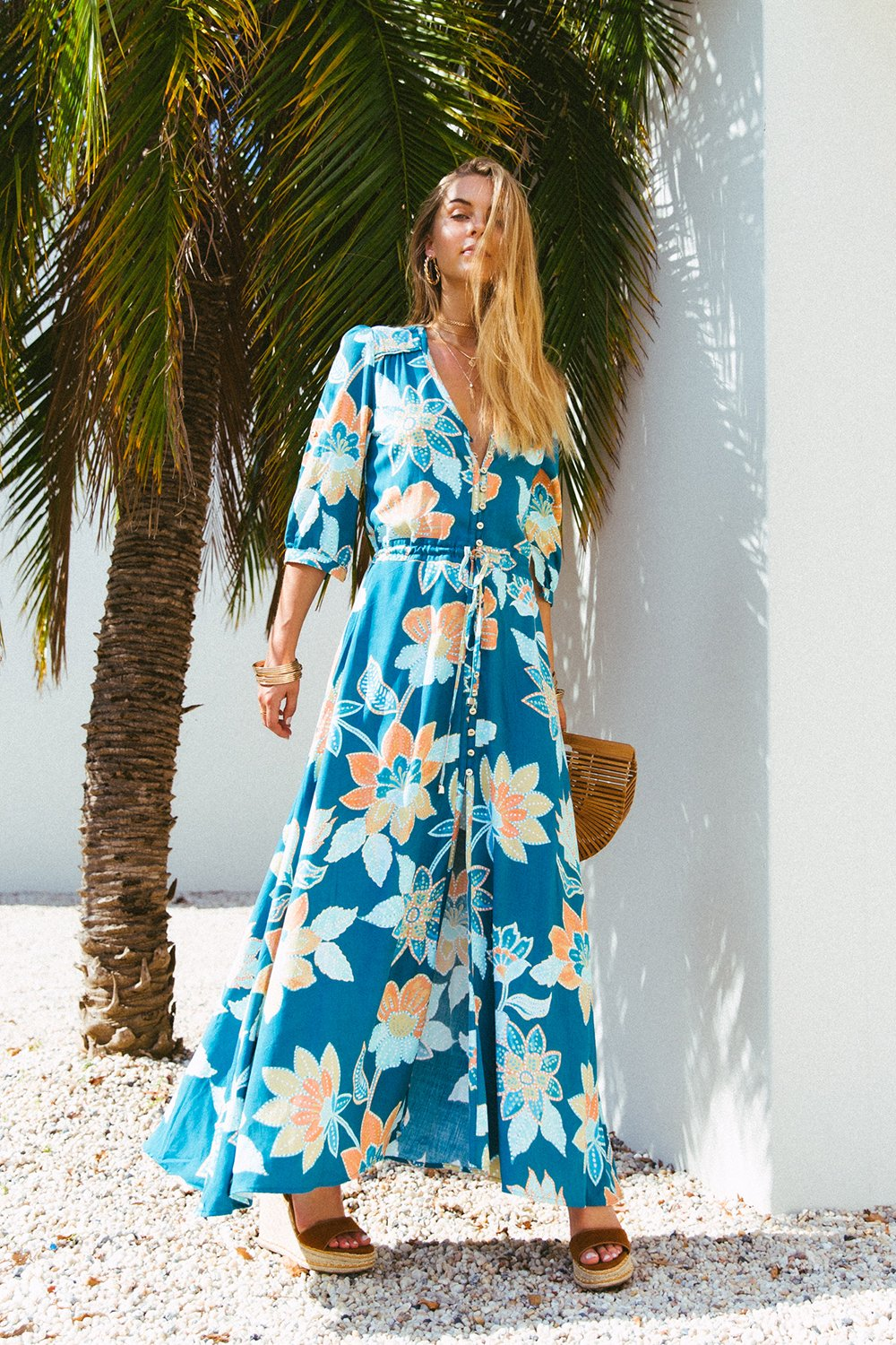 LE SALTY ORACLE MAXI DRESS | TEAL BLOOM
