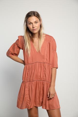 Tulle & Batiste - Willow Mini Dress - Peach Daiquri