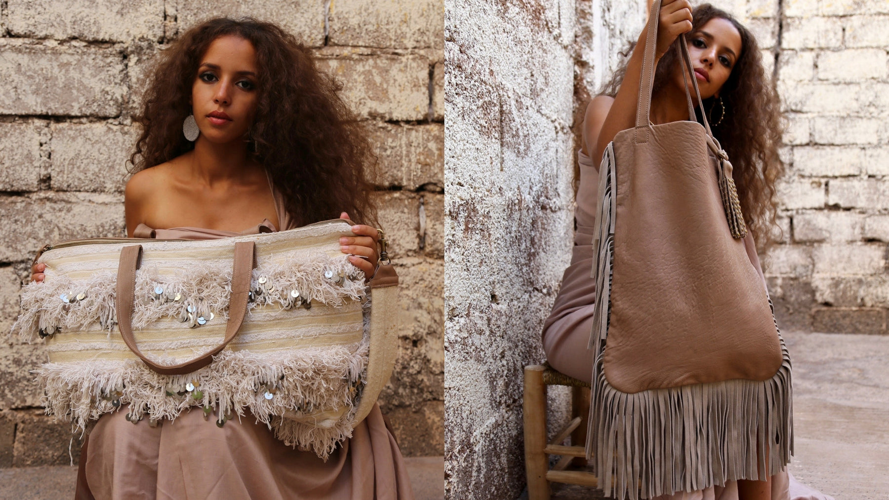 Original artisan handira and leather handbags