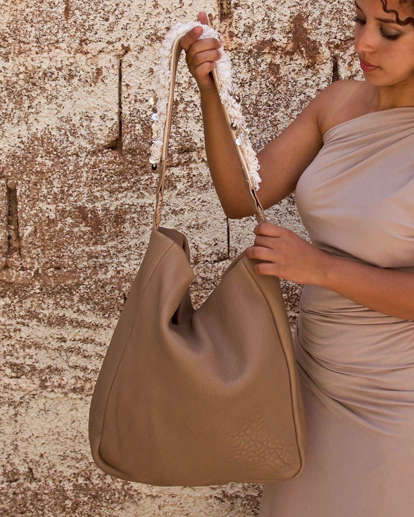 Beni Mellal Shoulder Bag - Latte & Natural White - Hamimi Design