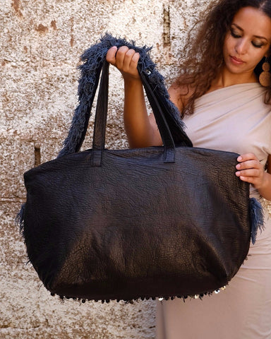 Khenifra Overnight Bag - Black & Indigo - Hamimi Design