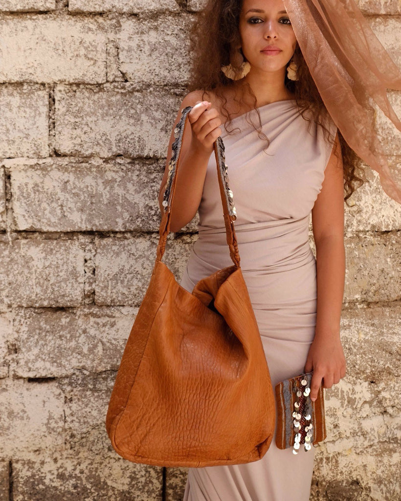 Beni Mellal Shoulder Bag - Cognac & Henna