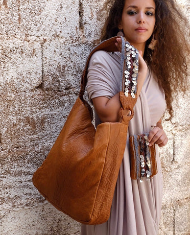 Beni Mellal Shoulder Bag - Cognac & Henna - Hamimi Design