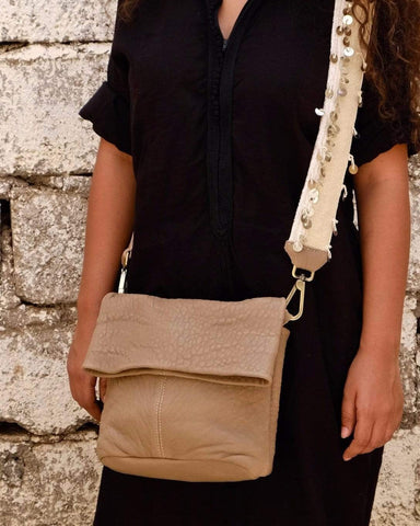 Zagora Foldover Shoulder Bag - Latte & Natural White - Hamimi Design