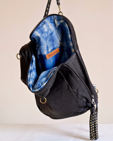 Atlas Backpack in Black & Indigo - Hamimi Design