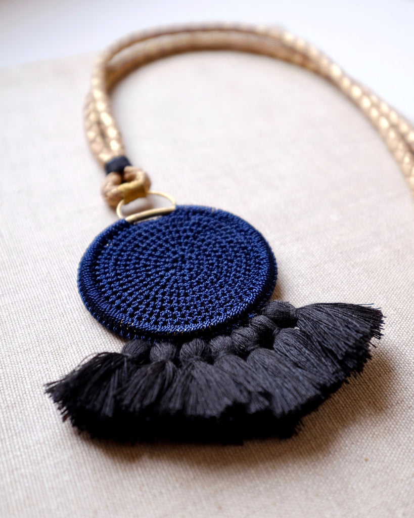 Crochet Disc Tassel Necklace - Midnight Blue & Black