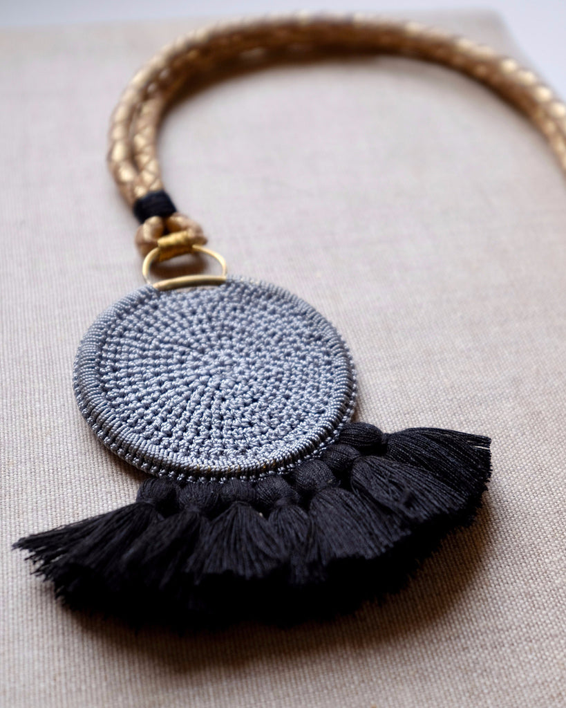 Crochet Disc Tassel Necklace - Grey & Black