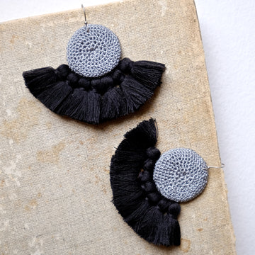 Crochet Disc Tassel Earrings - Grey & Black - Hamimi Design