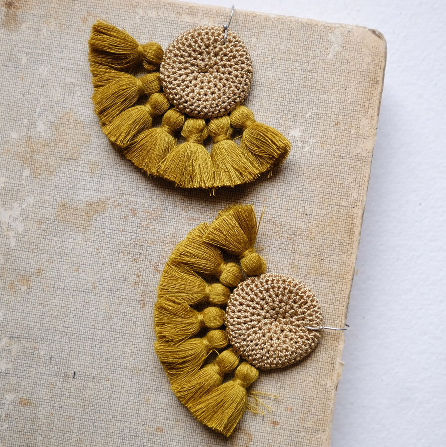 Crochet Disc Tassel Earrings - Cumin & Cumin - Hamimi Design