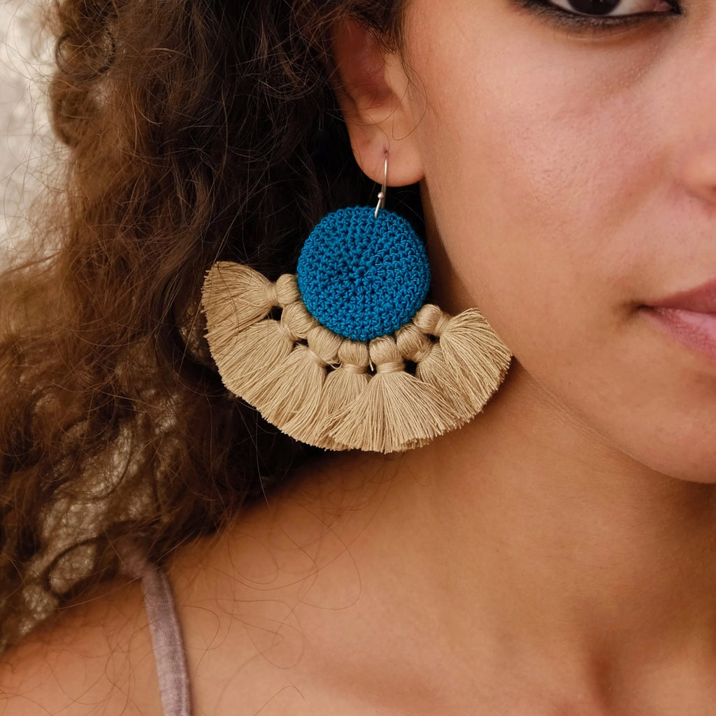 Crochet Disc Tassel Earrings - Turquoise & Straw - Hamimi Design