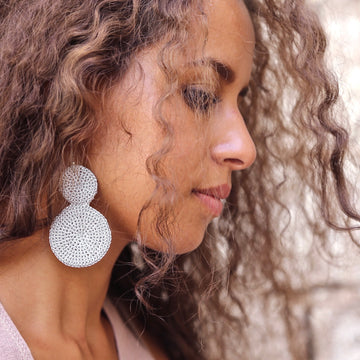 Skili Crochet Double Disc Earrings - Hamimi Design